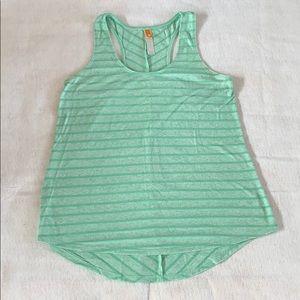 Lucy asymmetrical green stripe tank top